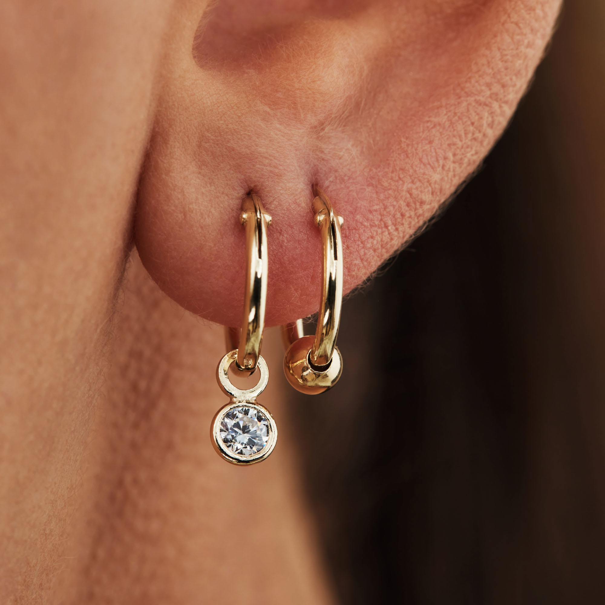 Selected Jewels Selected Gifts 925 sterling silver gold colored earrings set of 2 pairs of hoop earrings