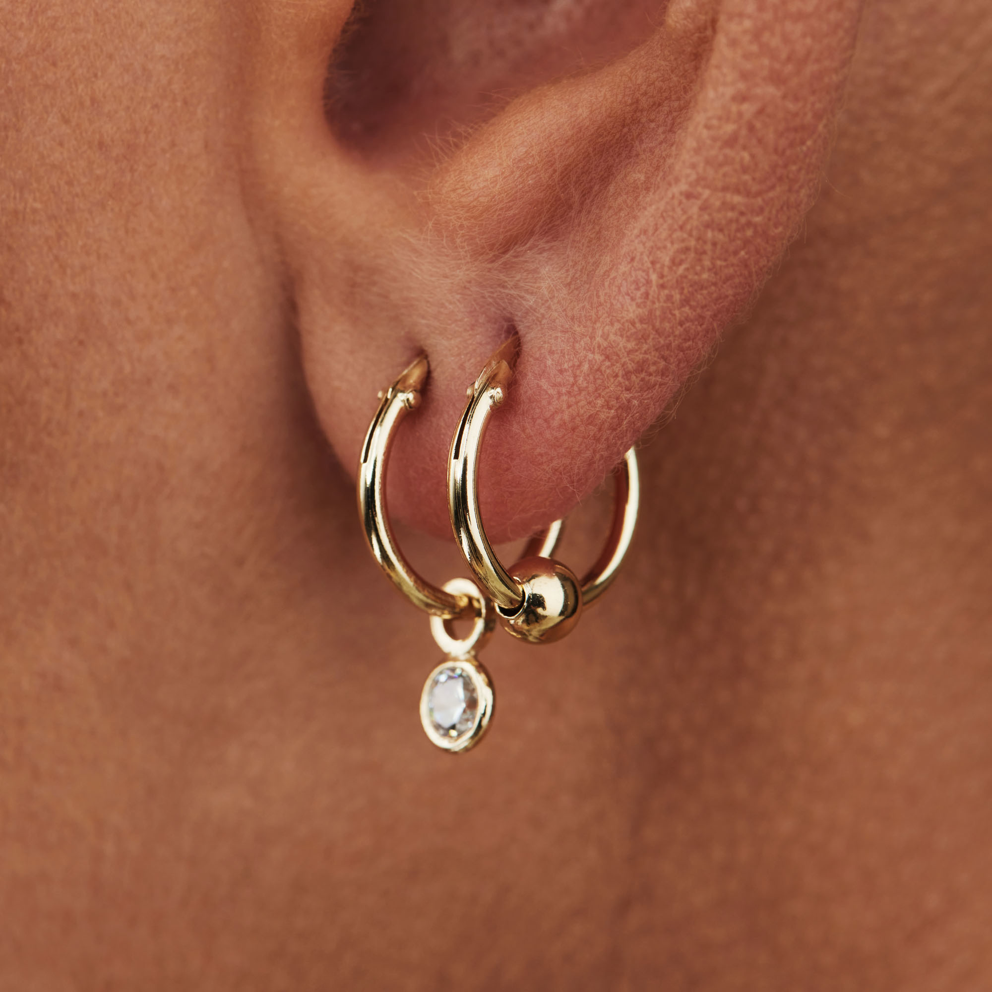 Selected Jewels Selected Gifts 925 sterling zilveren goudkleurige oorbellen set van 2 paar creolen