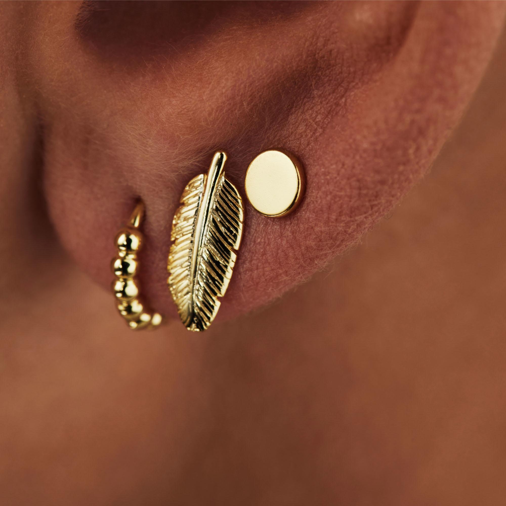 Selected Jewels Selected Gifts 925 sterling zilveren goudkleurige set van 3 paar oorbellen