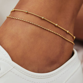 Selected Jewels Selected Gifts 925 sterling silver gold colored set ankle bracelets