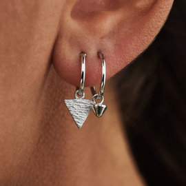 Selected Jewels Selected Gifts 925 sterling silver earrings set of 2 creoles with triangles