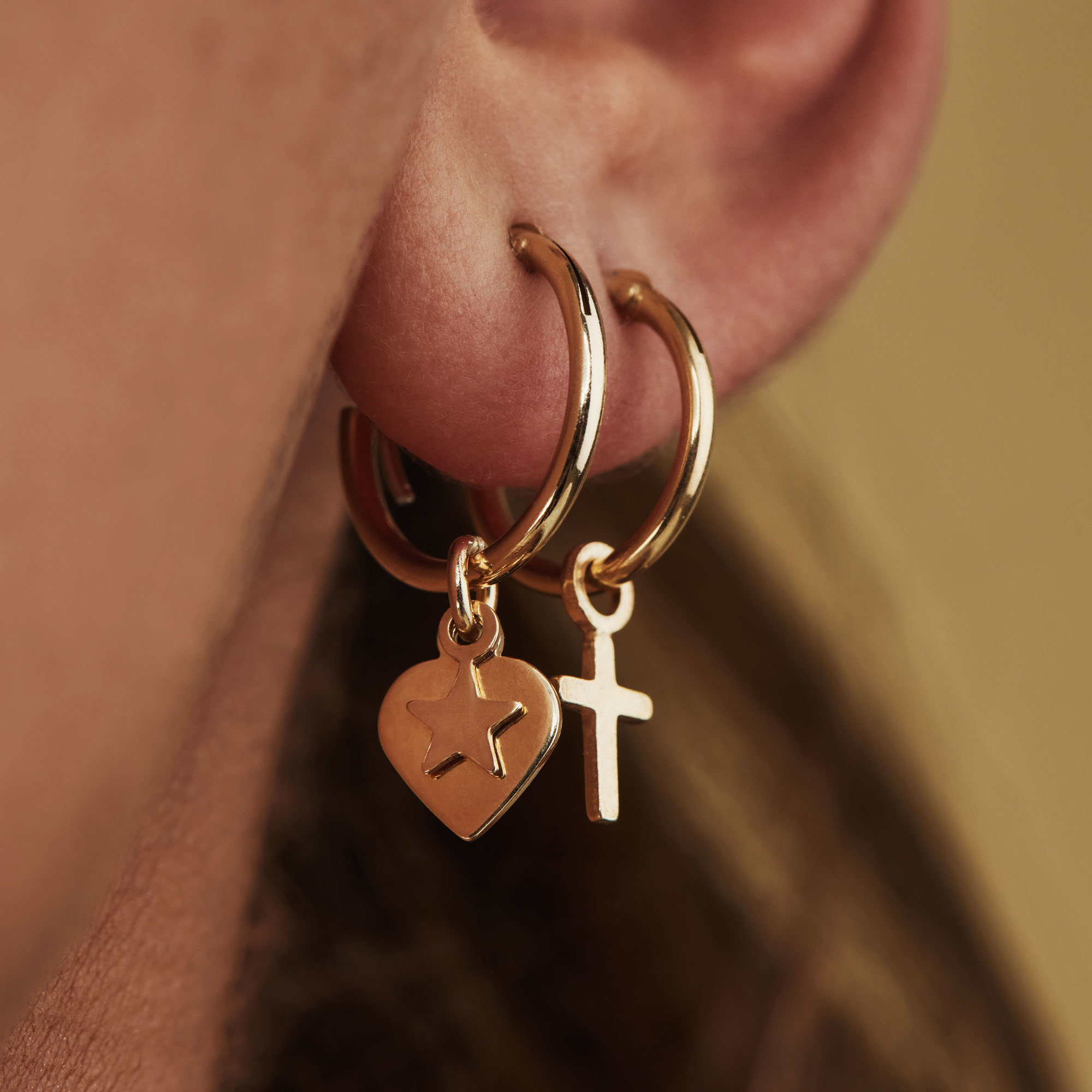 Selected Jewels Julie Esthée 925 sterling silver gold colored hoop earrings with hearts and stars
