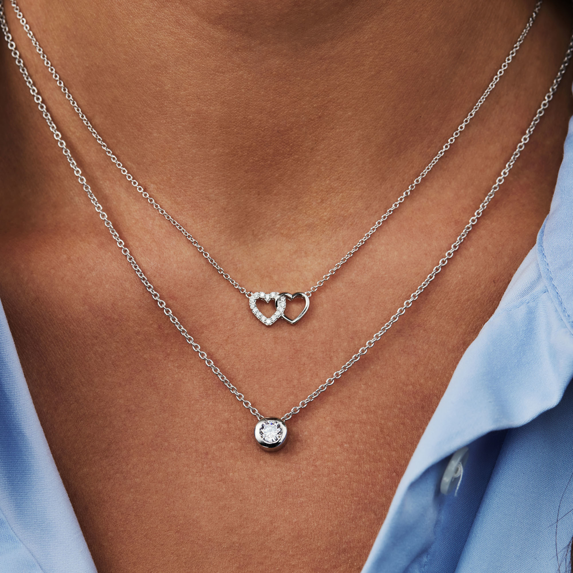 Selected Jewels Aimée 925 sterling silver necklace with 2 hearts and zirconia