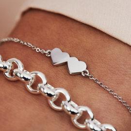 Selected Jewels Aimée 925 sterling zilveren armband met 2 hartjes