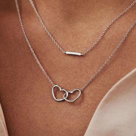 Selected Jewels Aimée 925 sterling zilveren ketting met 2 hartjes