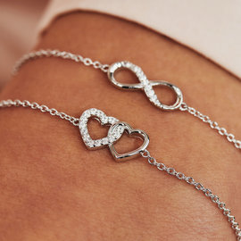 Selected Jewels Aimée 925 sterling silver bracelet with 2 hearts