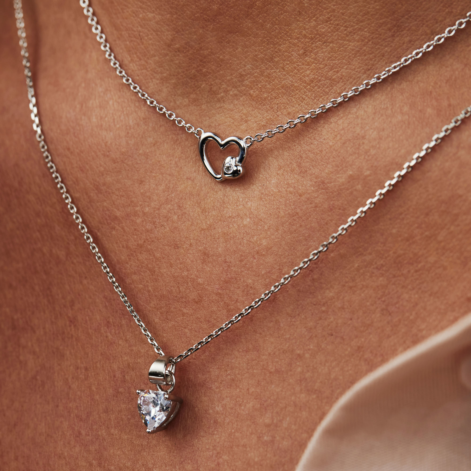 Selected Jewels Aimée 925 sterling silver necklace with hearts and zirconia