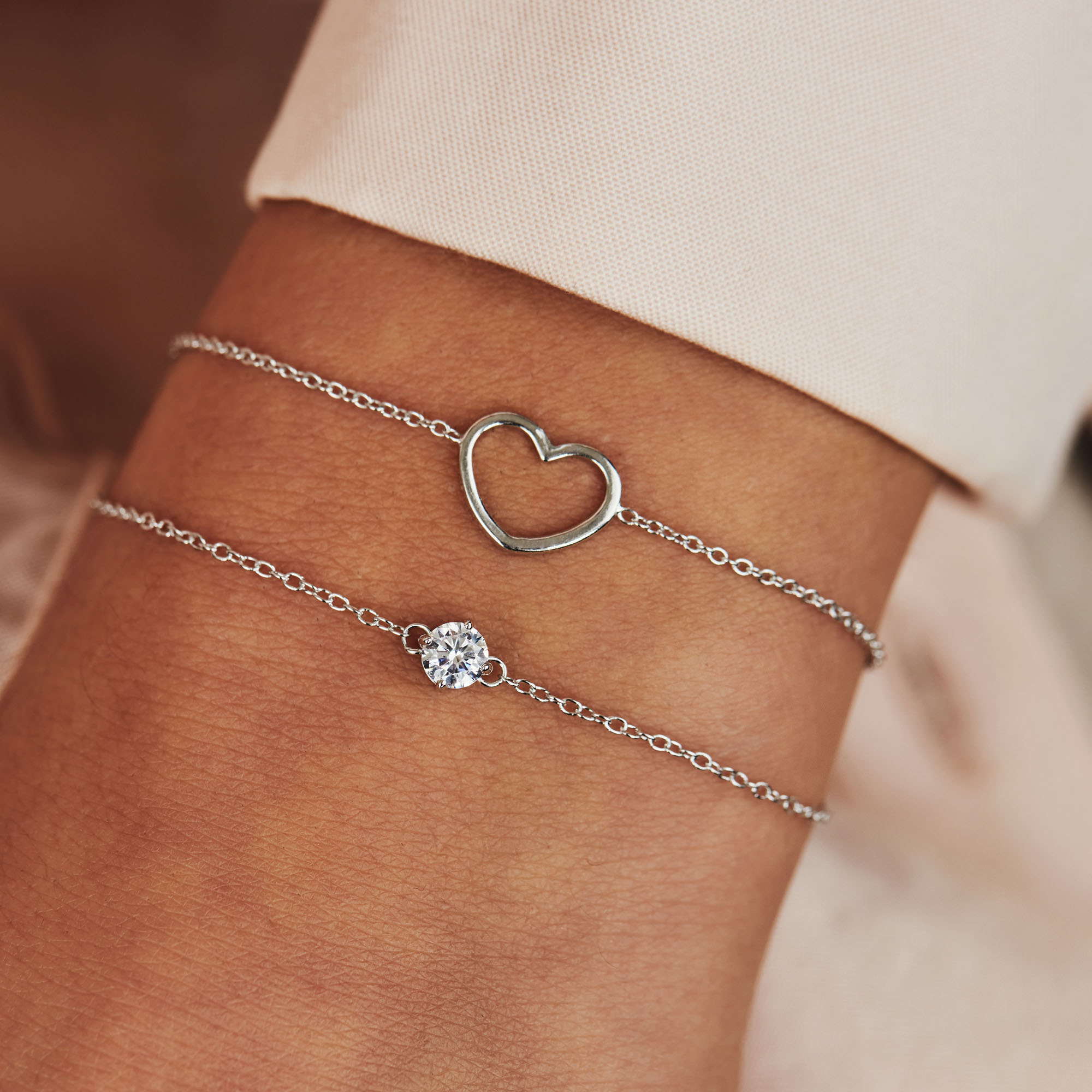 Selected Jewels Aimée 925 sterling zilveren armband met hartje