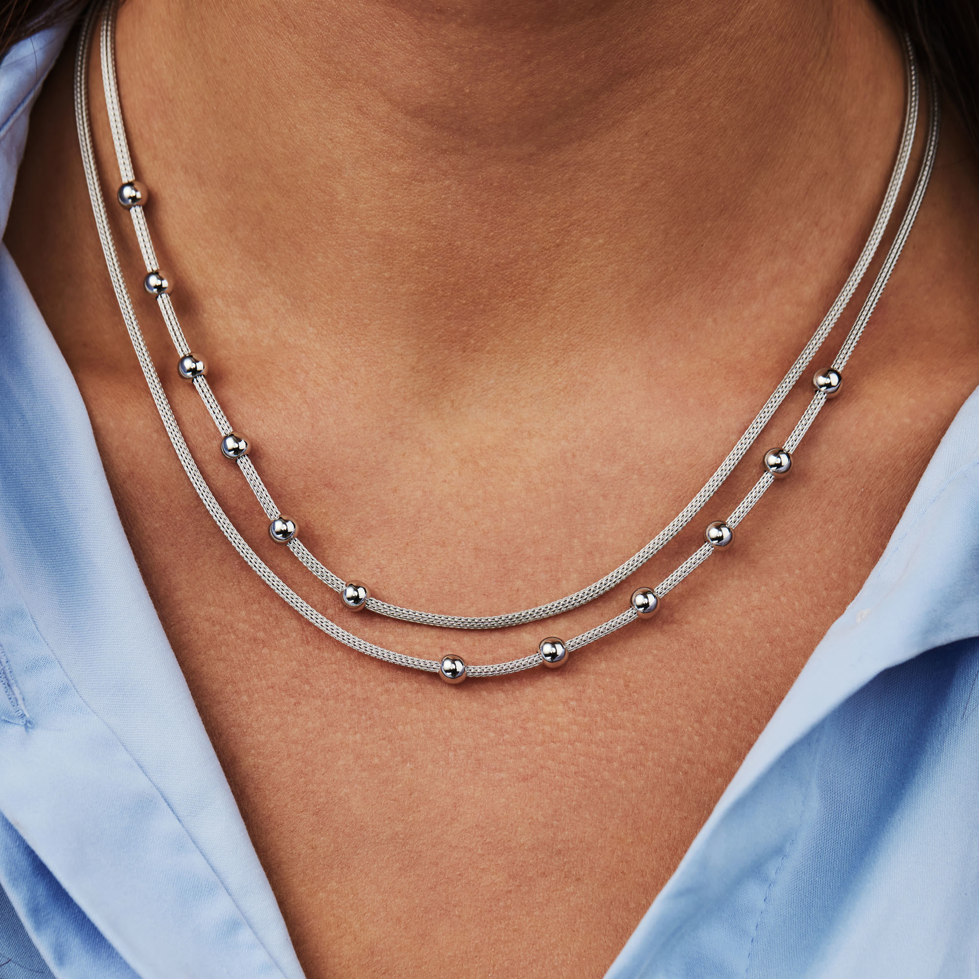 Selected Jewels Léna Nina 925 sterling silver necklace with spheres