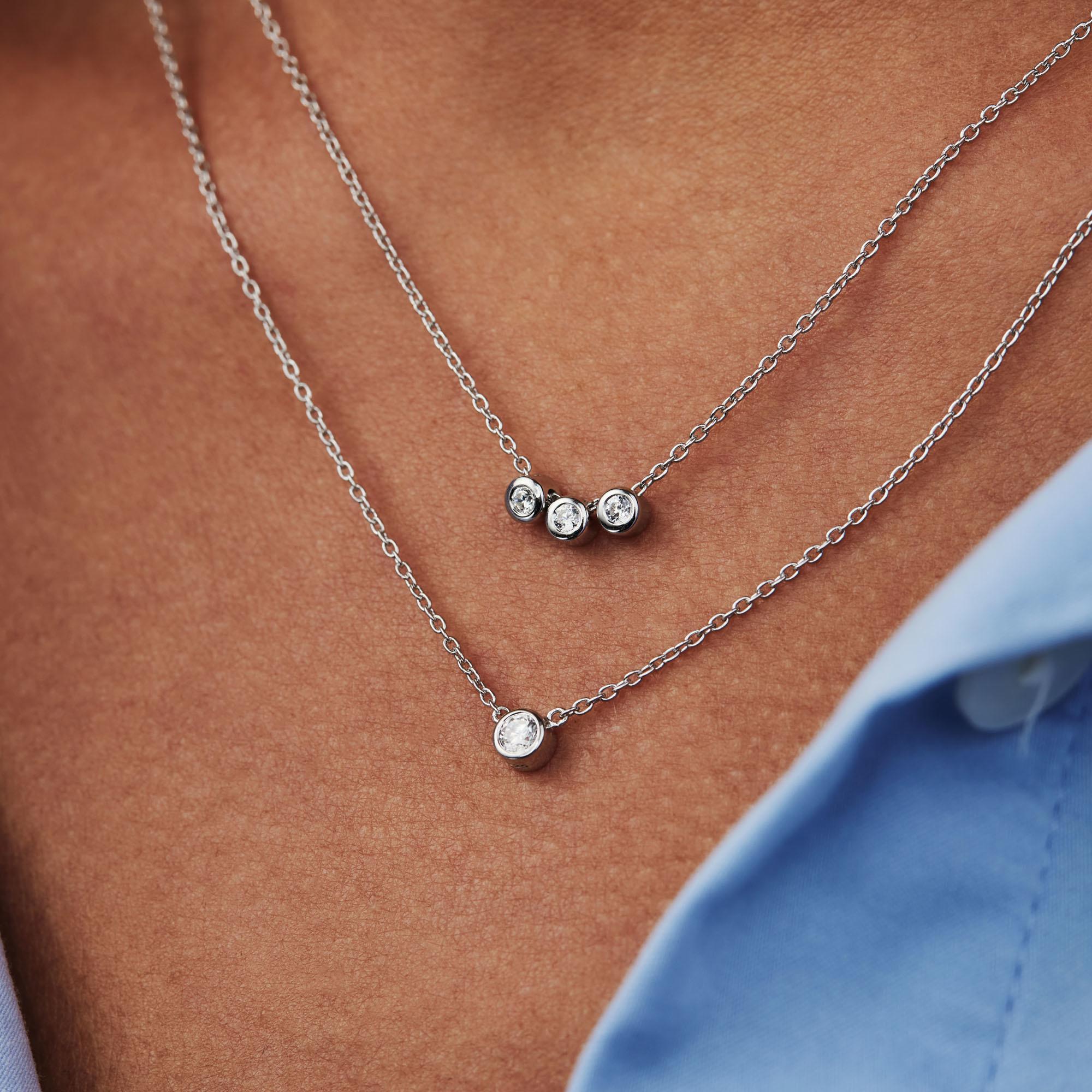 Selected Jewels Mila Elodie 925 sterling zilveren dubbele ketting met zirkonia