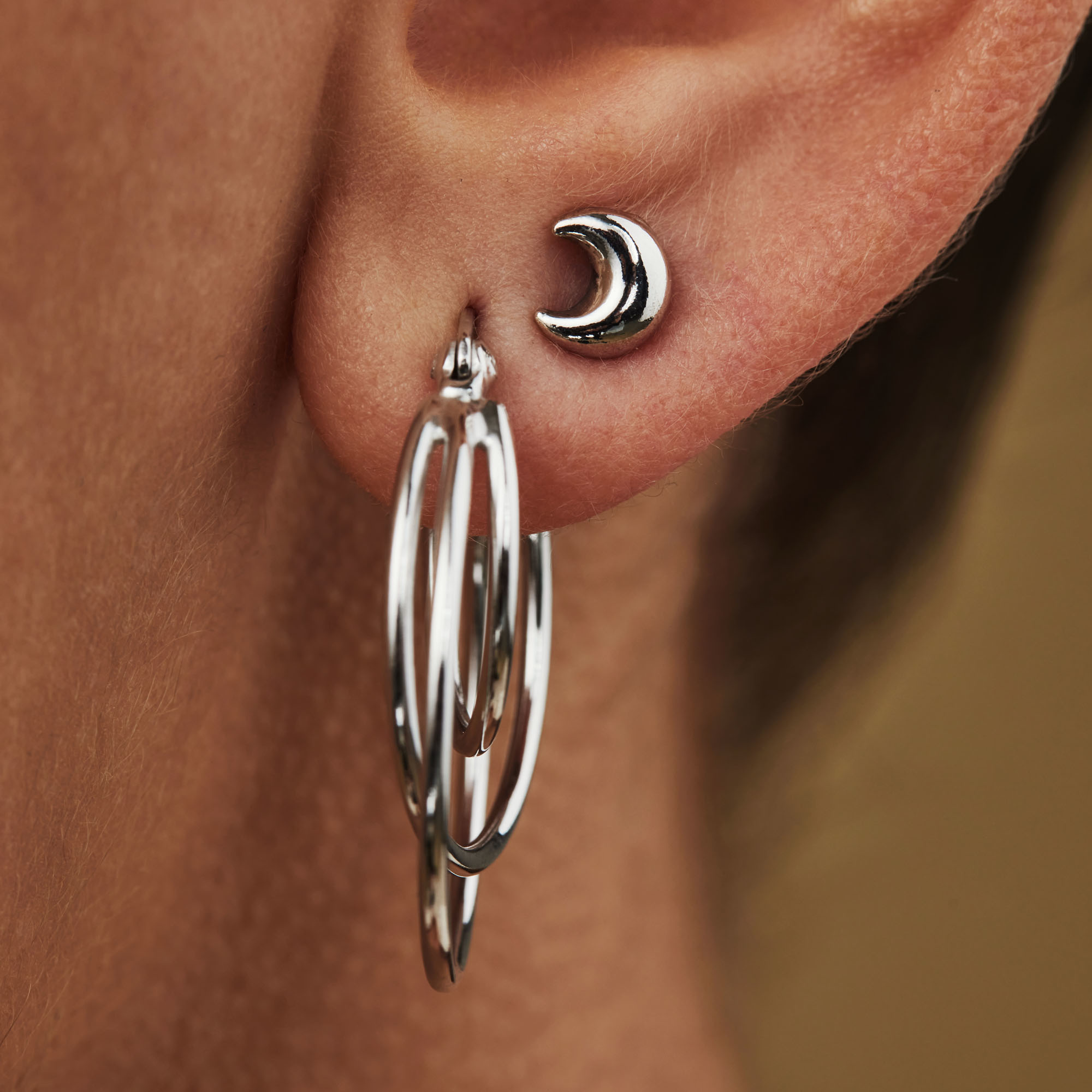 Selected Jewels Julie Louna 925 sterling silver ear studs with moon