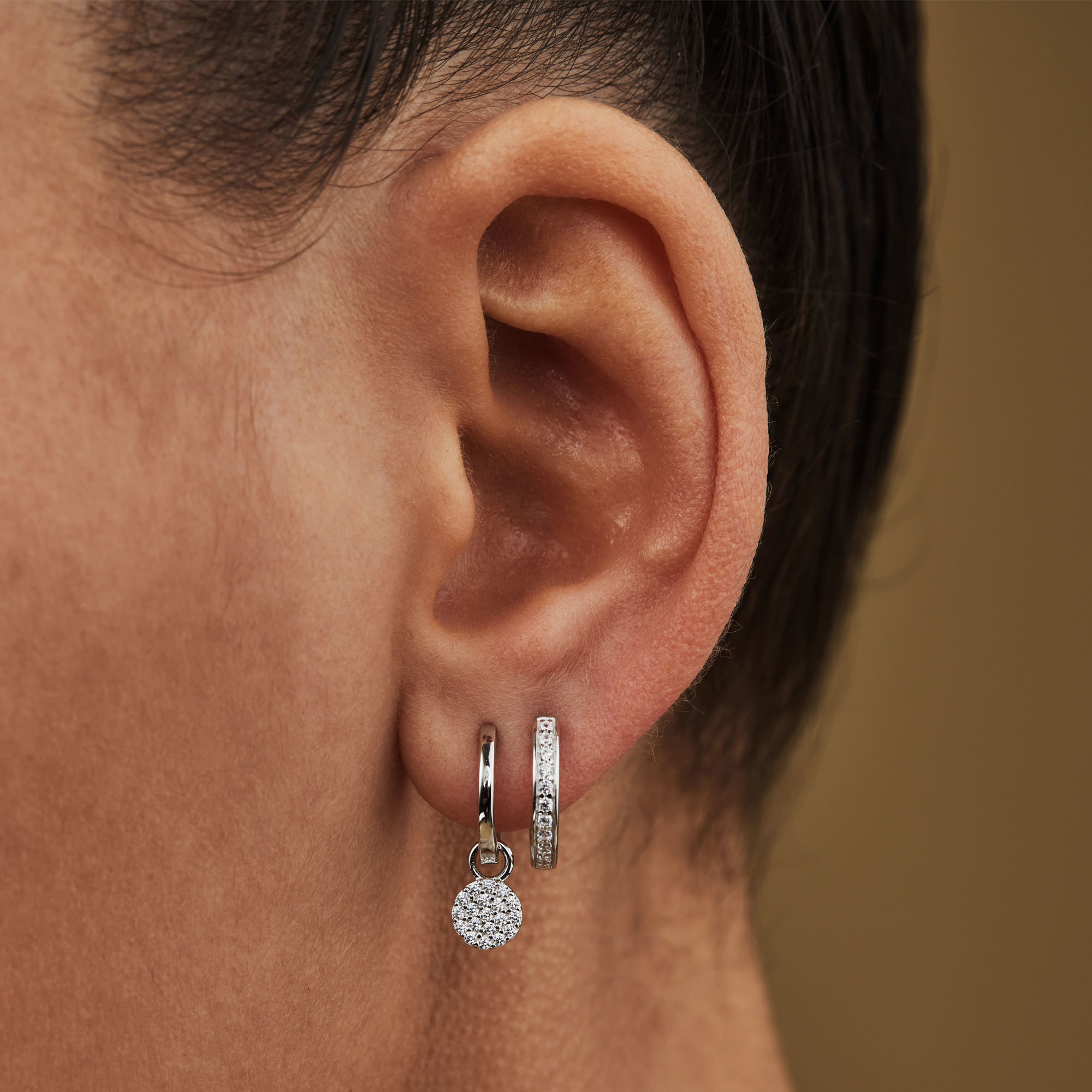 Selected Jewels Mila Elodie 925 sterling silver creoles with zirconia