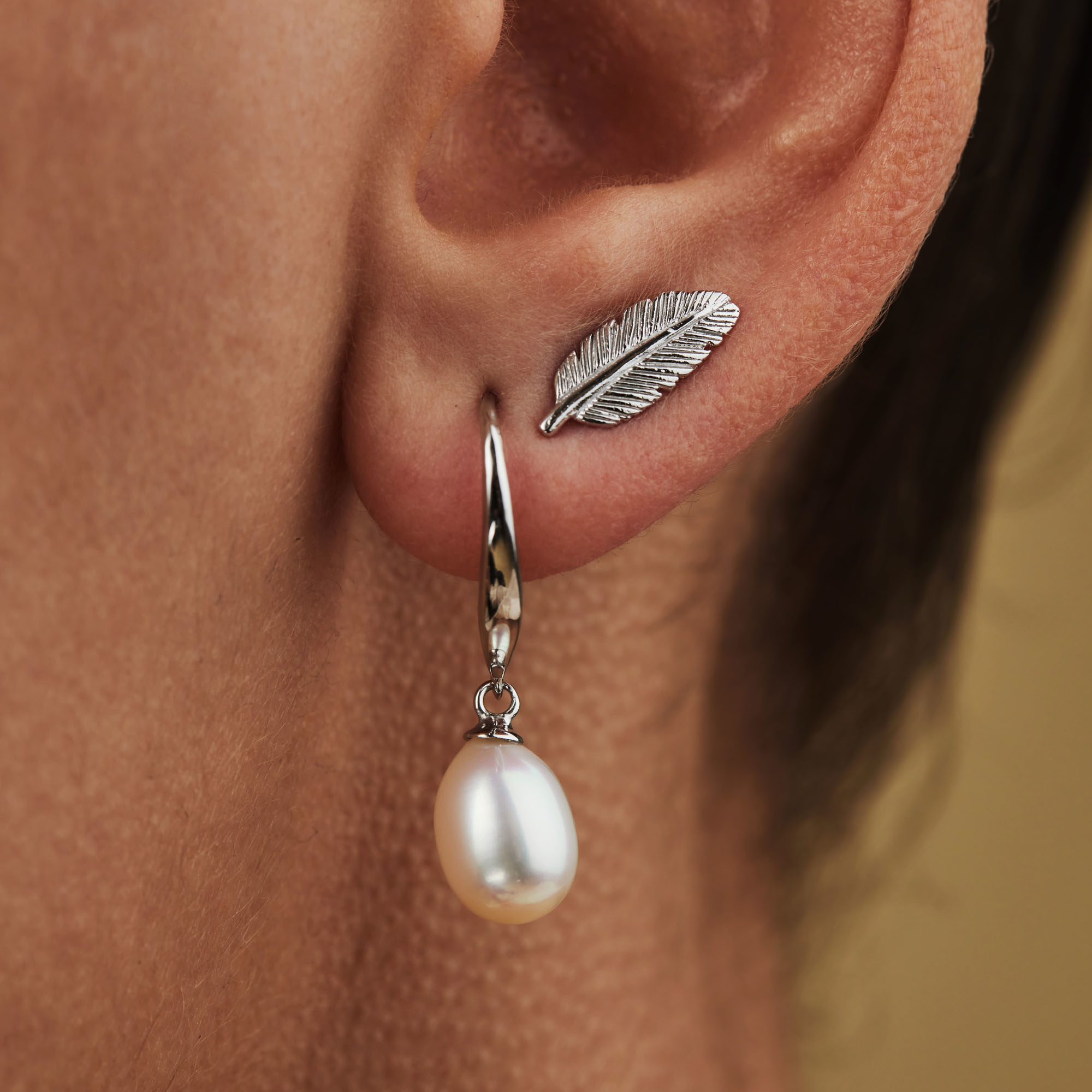 Selected Jewels Julie Lucie 925 sterling silver ear studs with feathers