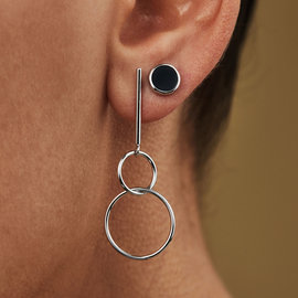 Selected Jewels Mila Sophie 925 sterling silver ear studs with black onyx