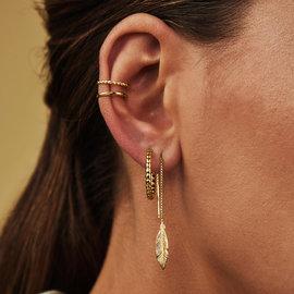 Selected Jewels Julie Lucie 925 sterling zilveren goudkleurige oorhangers met veertjes