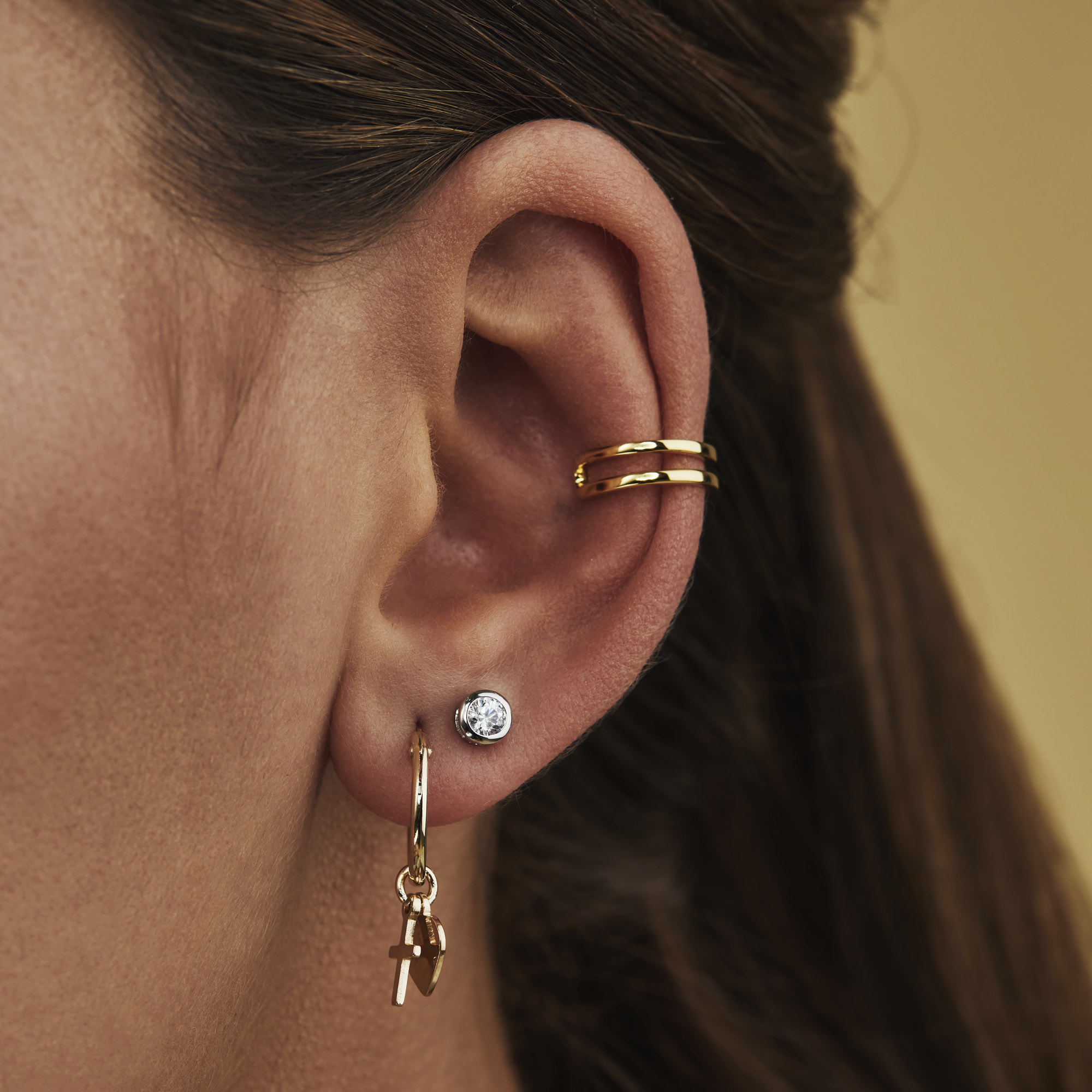 Selected Jewels Léna Joy ear cuff singolo color oro in argento sterling 925