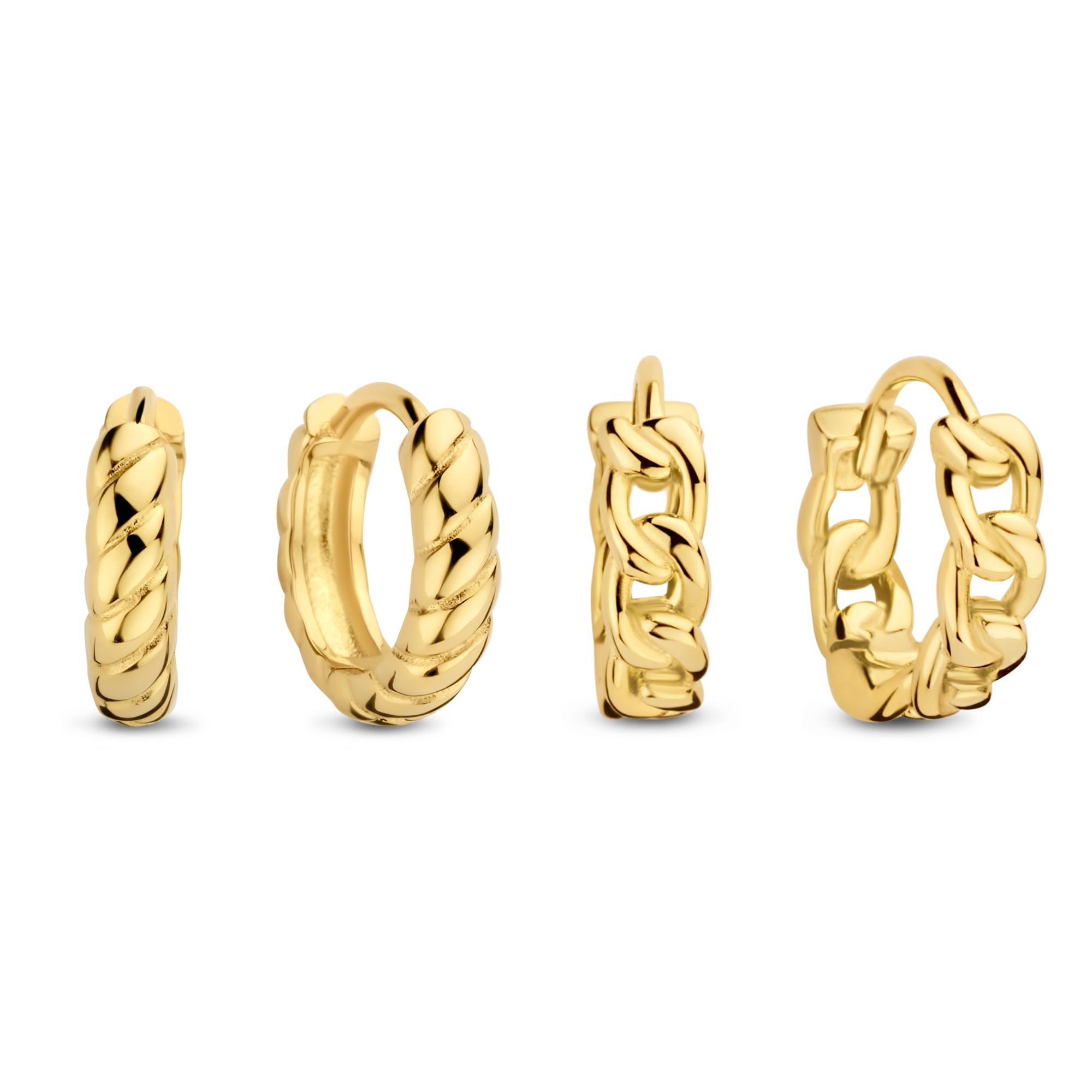 Selected Jewels Selected Gifts 925 sterling sølv guldfarvet sæt øreringe