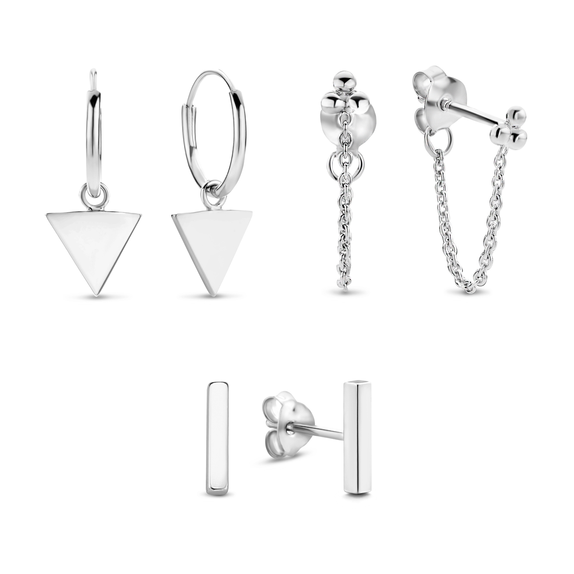 Selected Jewels Selected Gifts 925 sterling zilveren set van 3 paar oorbellen
