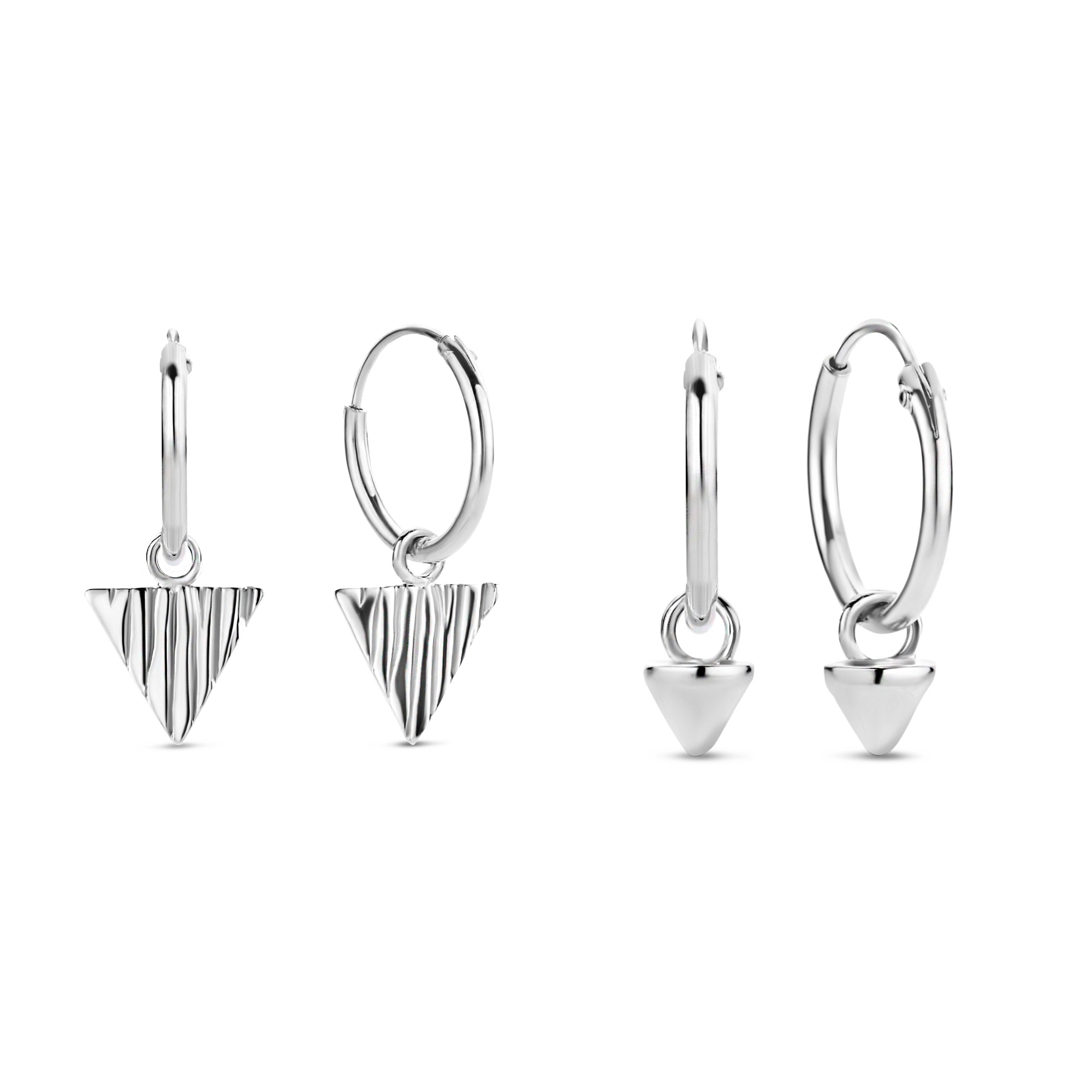 Selected Jewels Selected Gifts 925 sterling silver earrings set of 2 pairs of hoop earrings with triangles