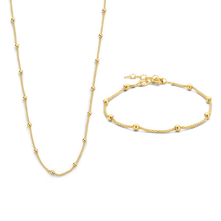 Selected Jewels Selected Gifts 925 sterling silver guldfärgad uppsättningar armband och halsband