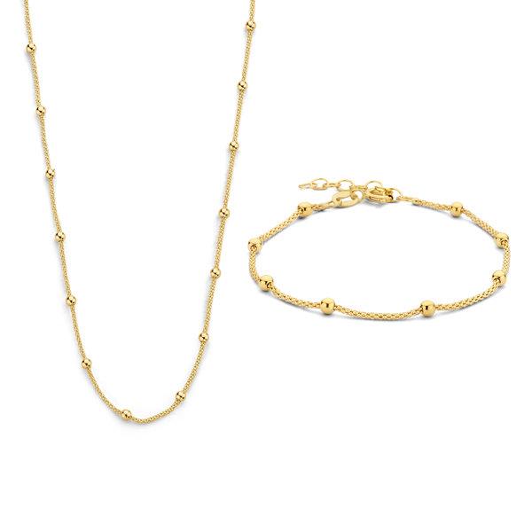Selected Jewels Selected Gifts 925 sterling sølv guldfarvet sæt armbånd og halskæde