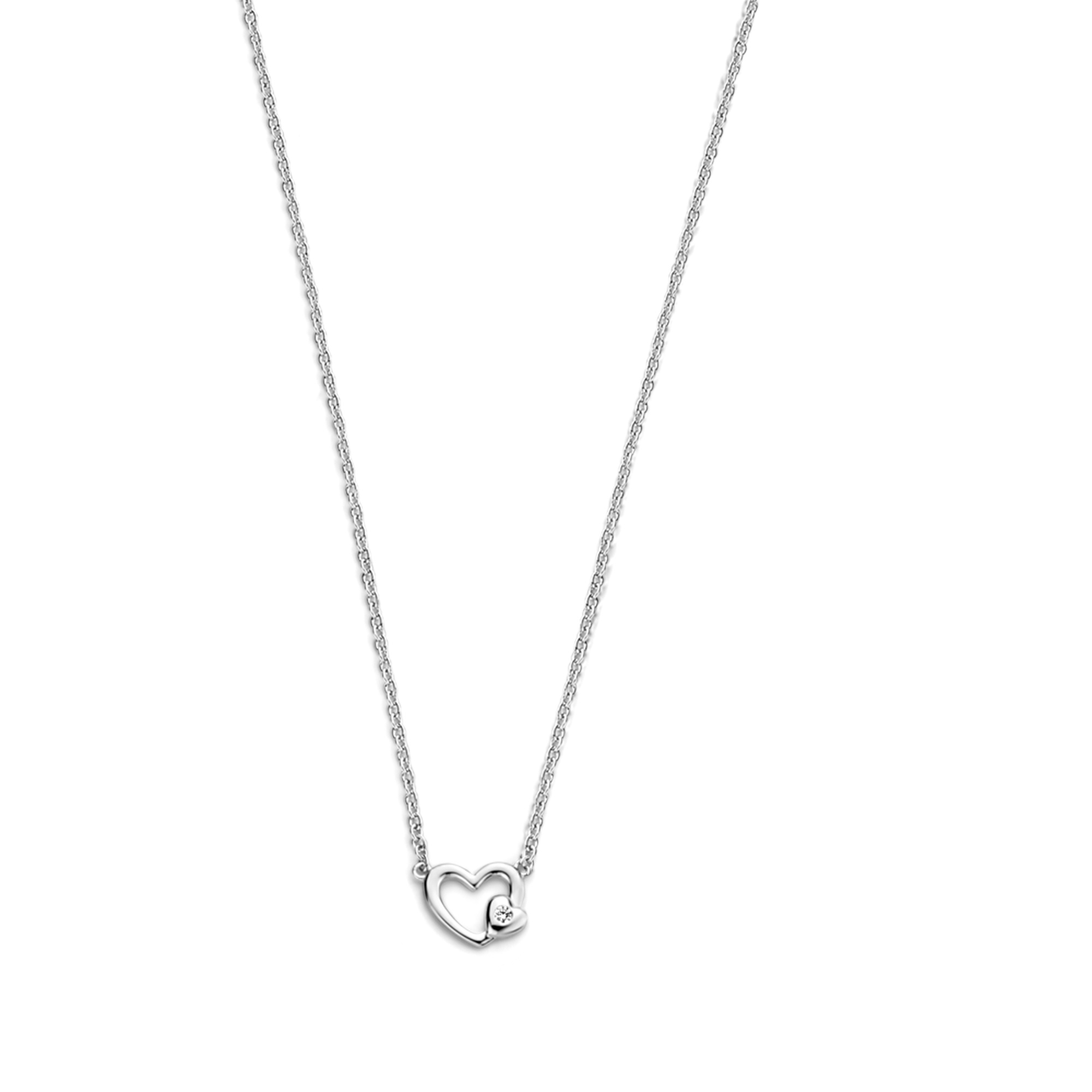 Selected Jewels Aimée 925 sterling zilveren ketting met hartjes en zirkonia