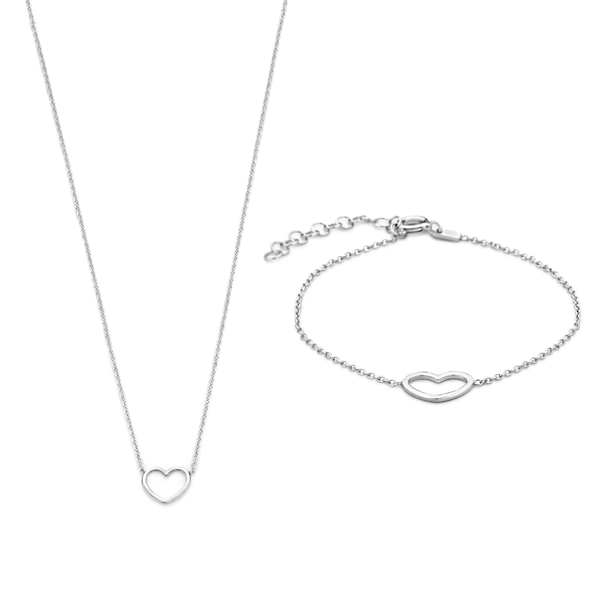Selected Jewels Selected Gifts 925 sterling zilveren set armband en ketting met hartje