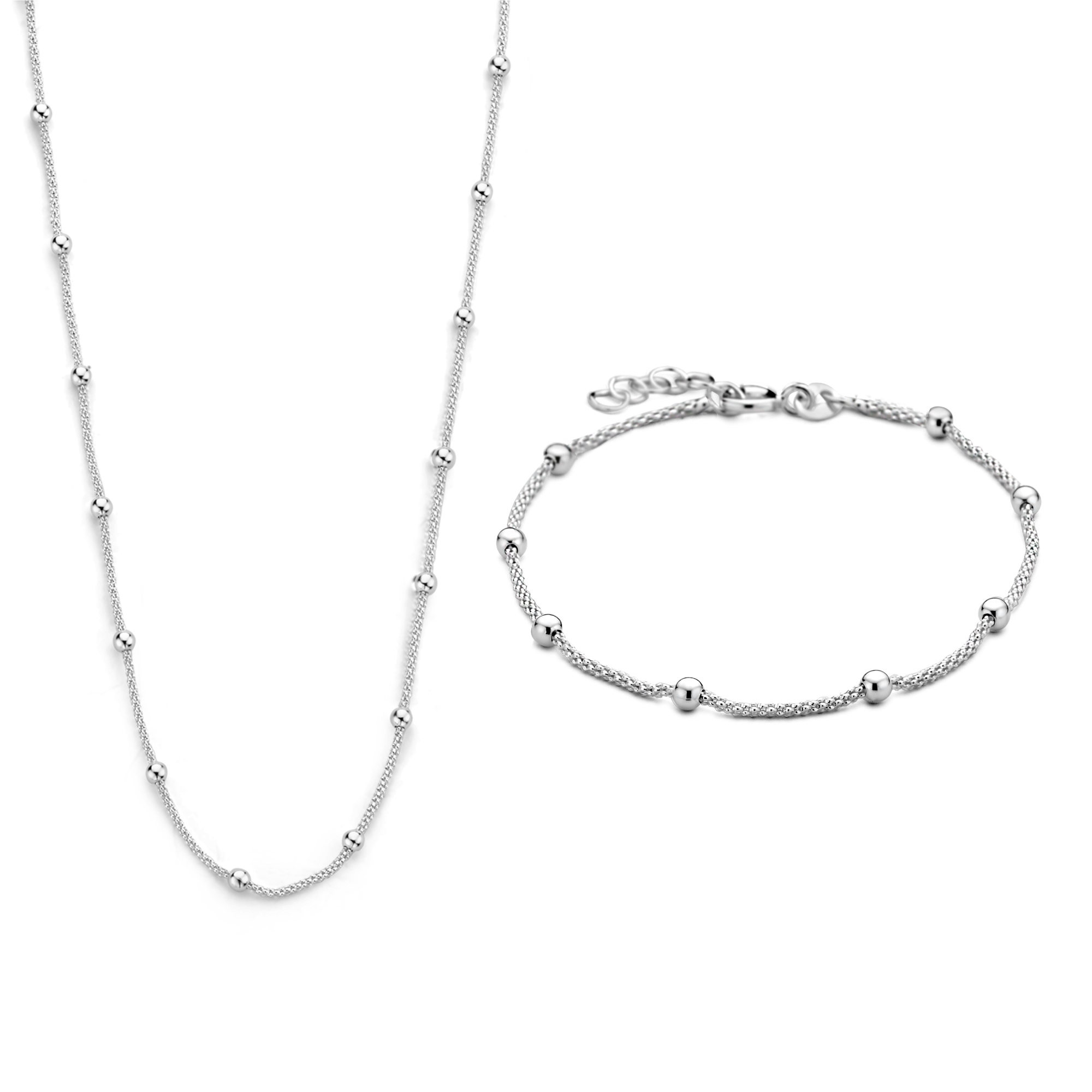 Selected Jewels Selected Gifts 925 sterling silver set bracelet and necklace with spheres