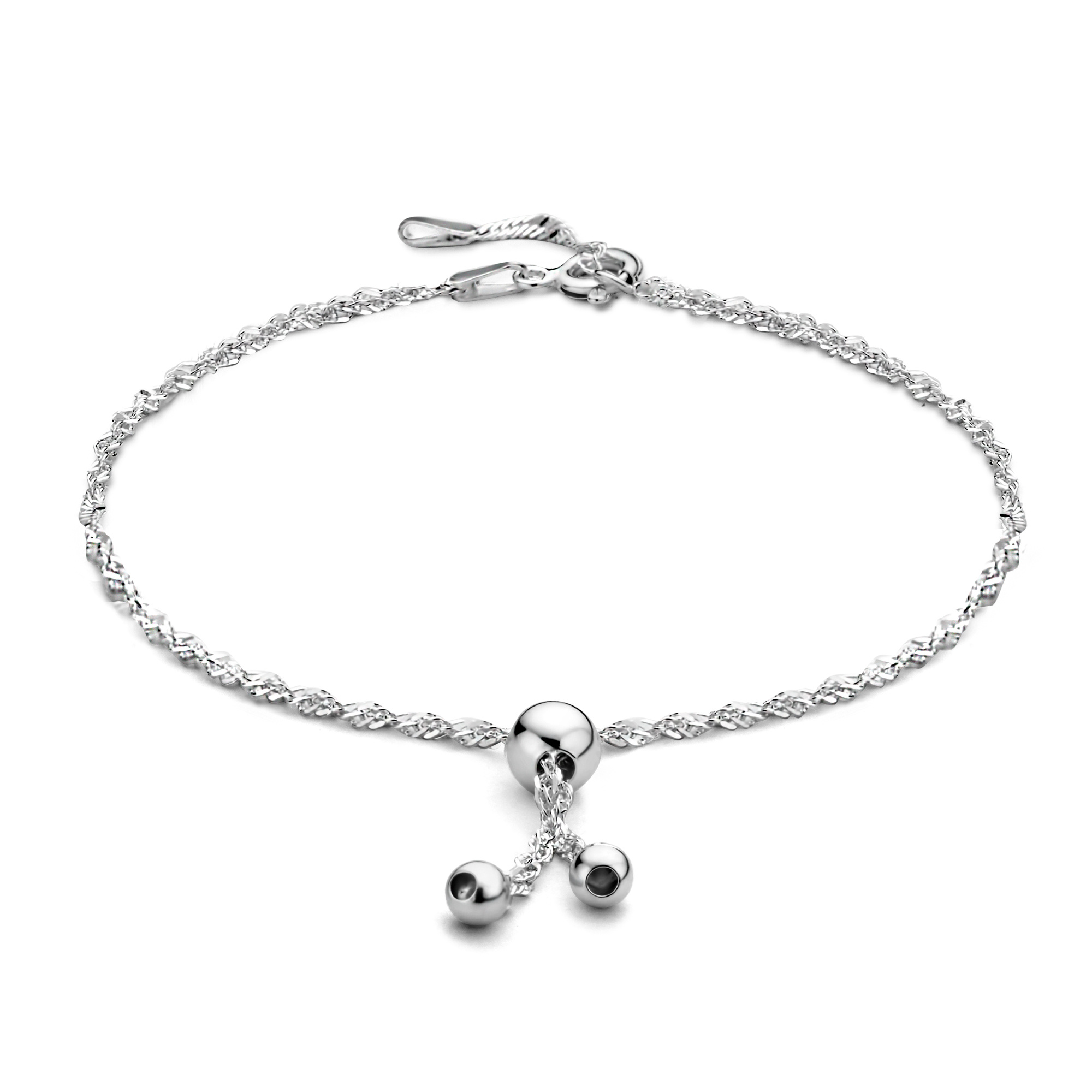 Selected Jewels Selected Gifts 925 sterling silver set ankle bracelets with spheres