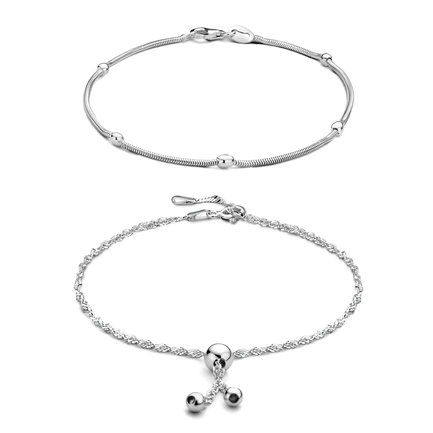Selected Jewels Selected Gifts 925 sterling silver set ankle bracelets