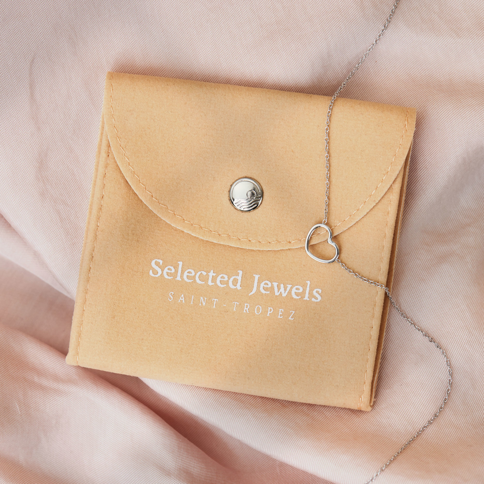 Selected Jewels Aimée 925 sterling zilveren ketting met 2 hartjes en zirkonia