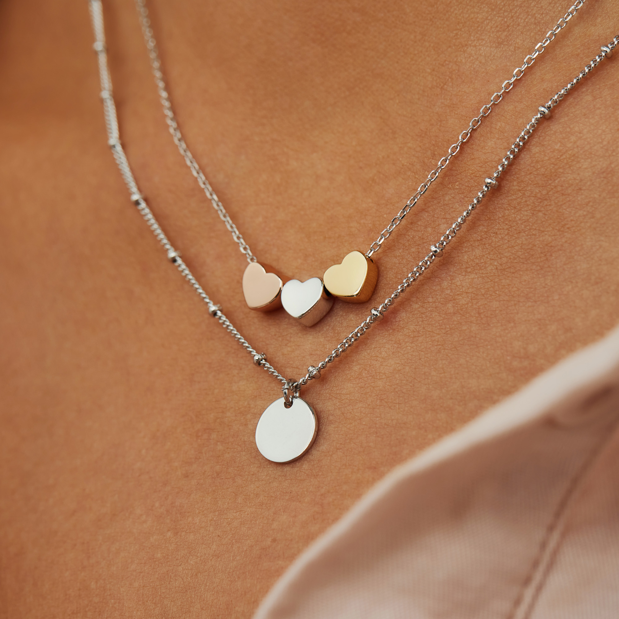 Selected Jewels Aimée 925 sterling silver necklace with 3 hearts