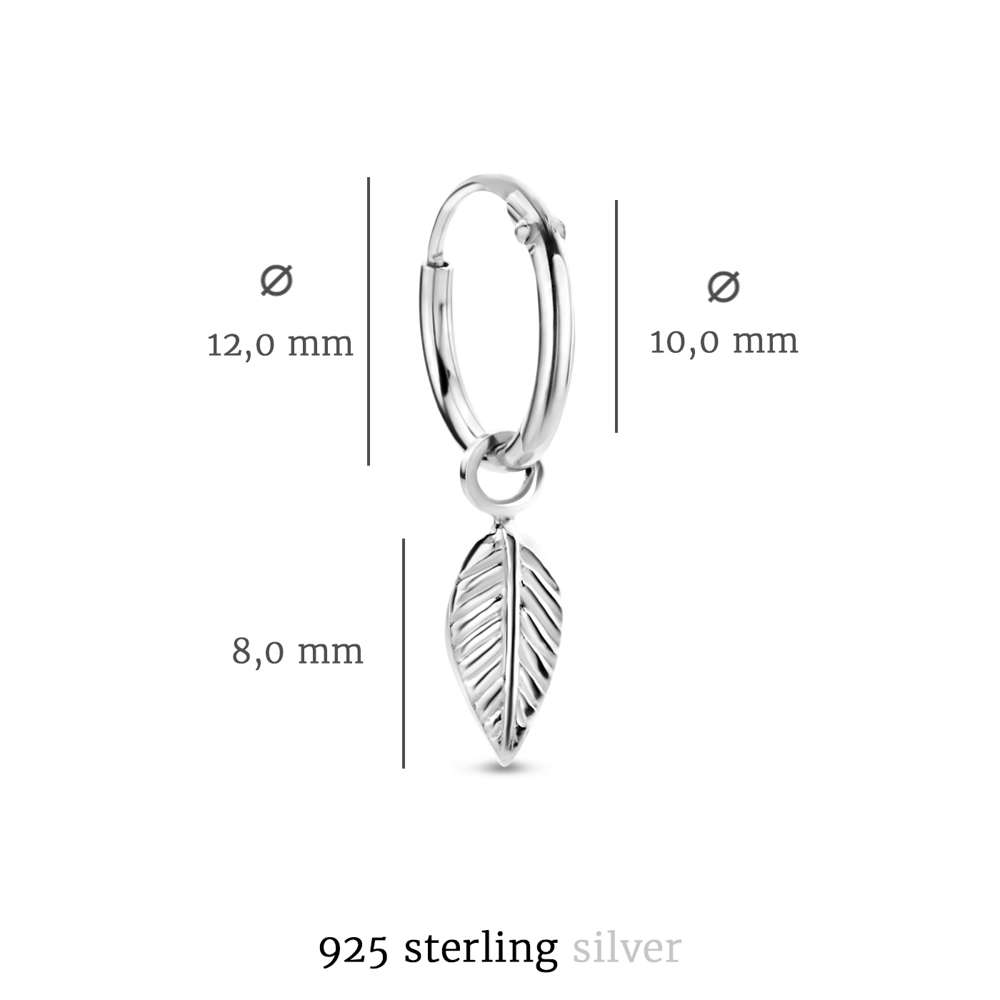 Selected Jewels Julie Lucie 925 sterling silver hoop earrings with feathers