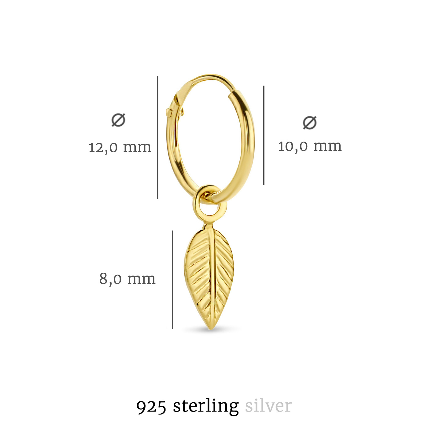 Selected Jewels Julie Lucie 925 sterling silver gold colored hoop earrings with feathers
