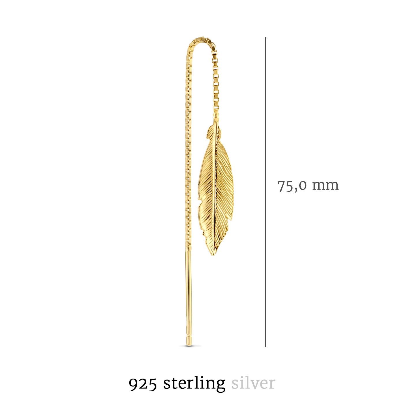 Selected Jewels Julie Lucie 925 sterling zilveren goudkleurige oorhangers met veertjes