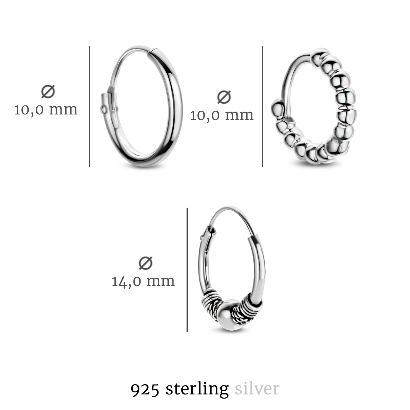 Selected Jewels Selected Gifts 925 sterling silver earrings set of 3 pairs of hoop earrings