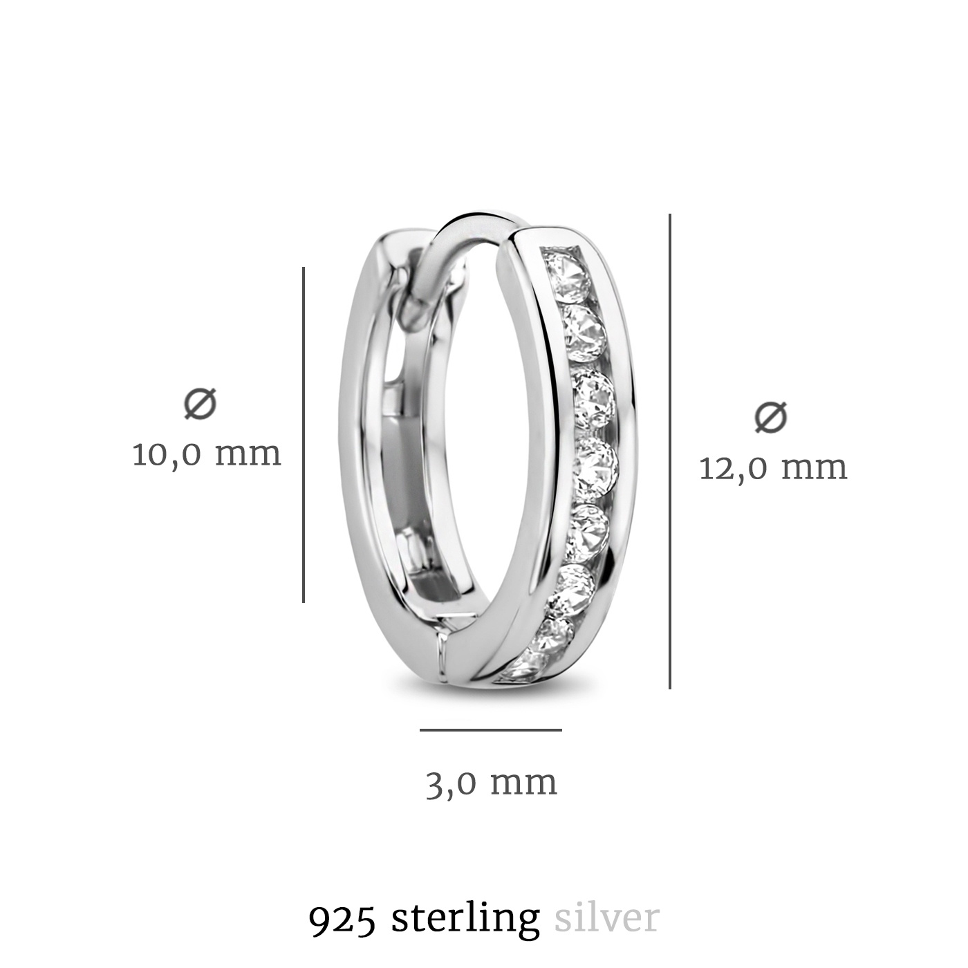 Selected Jewels Mila Elodie 925 sterling silver hoop earrings with zirconia
