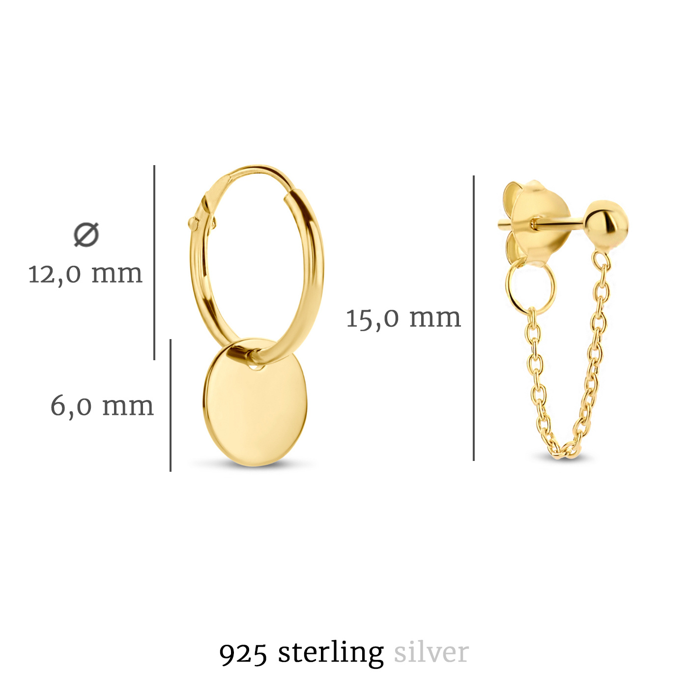 Selected Jewels Selected Gifts 925 sterling silver gold colored set of 2 pairs of earrings