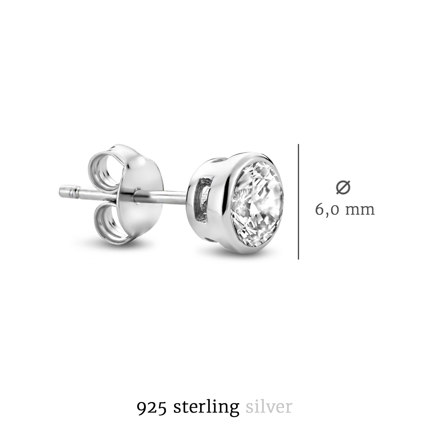 Selected Jewels Mila Elodie 925 sterling zilveren oorknoppen met zirkonia