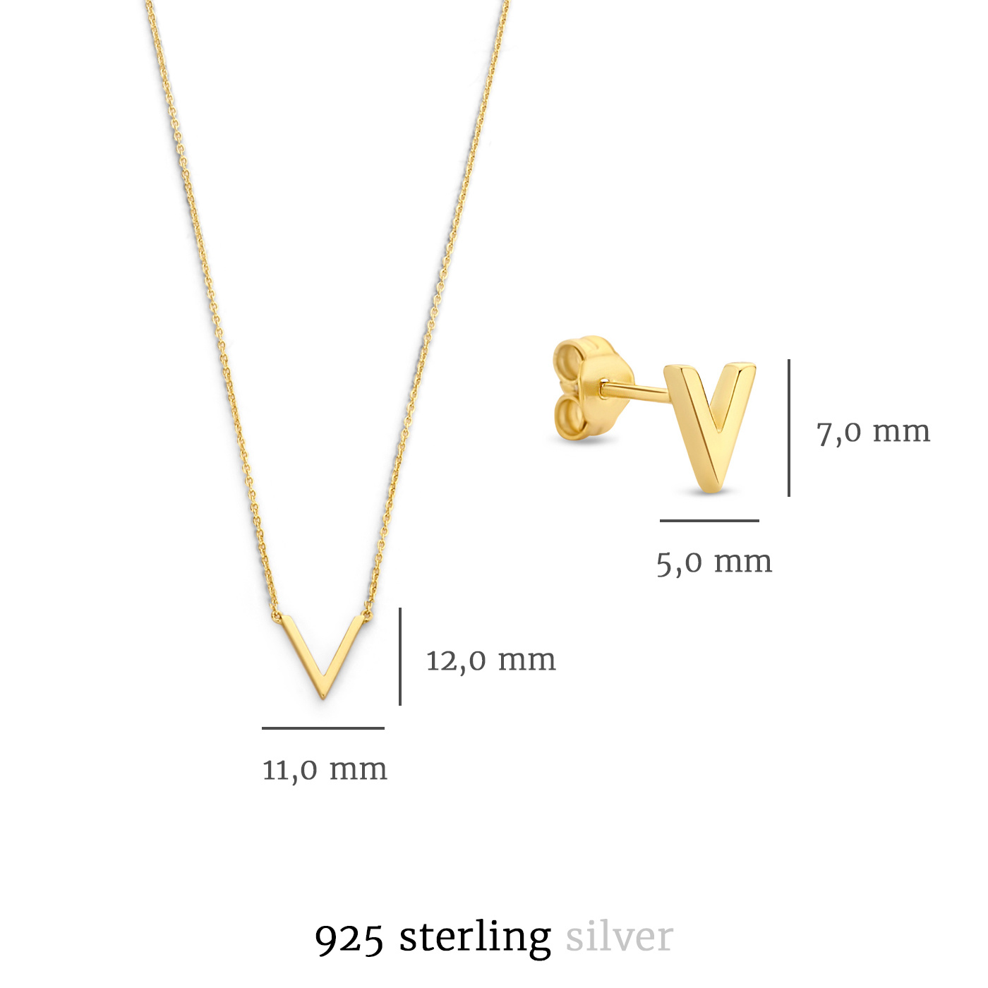 Selected Jewels Selected Gifts 925 sterling silver gold colored set necklace and ear studs