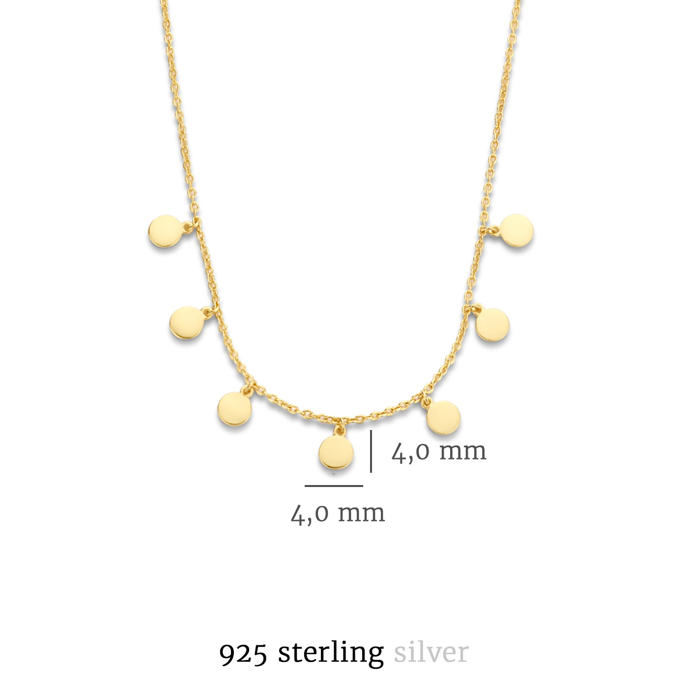 Selected Jewels Julie Belle 925 sterling silver gold colored necklace with coins