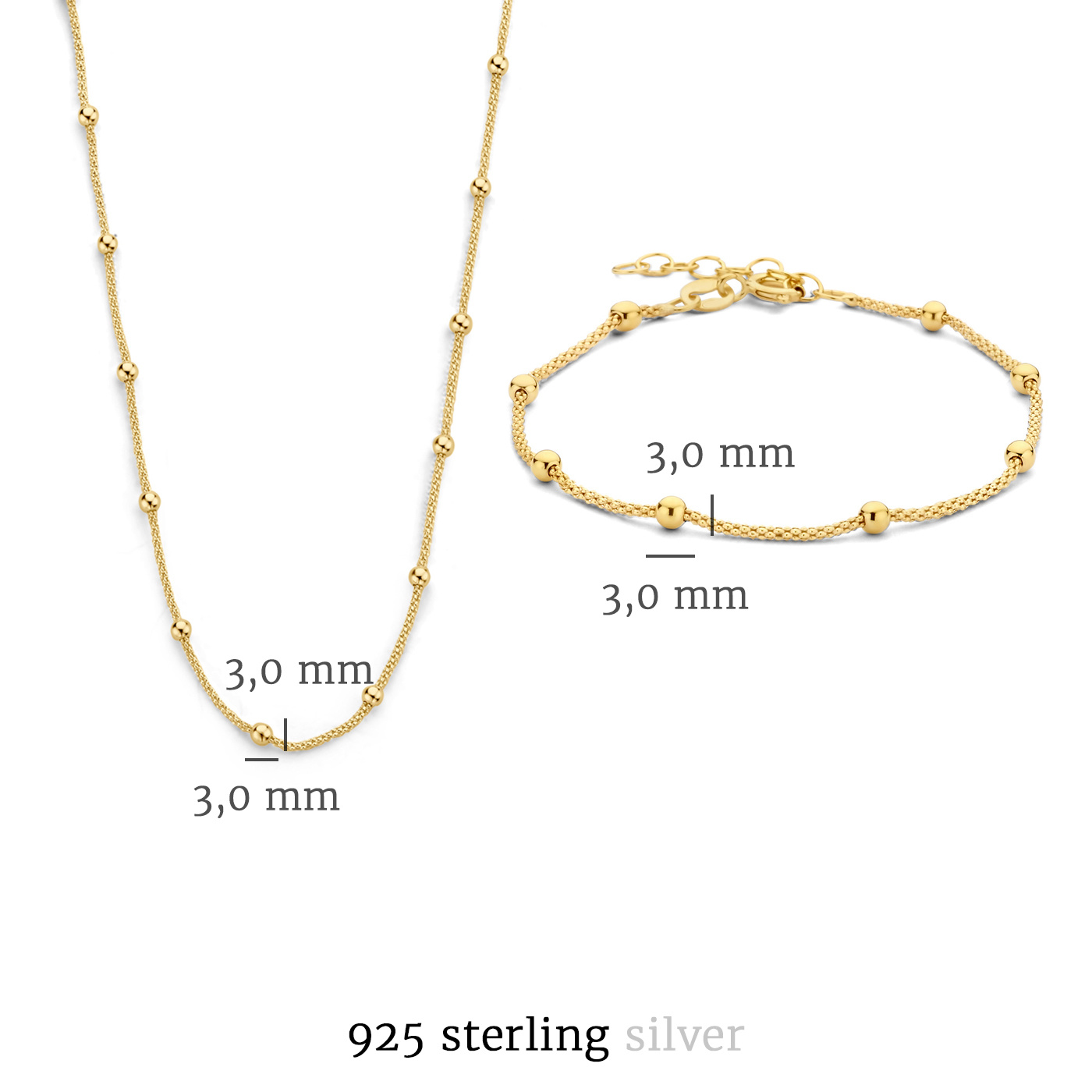 Selected Jewels Selected Gifts 925 sterling silver gold colored set bracelet and necklace