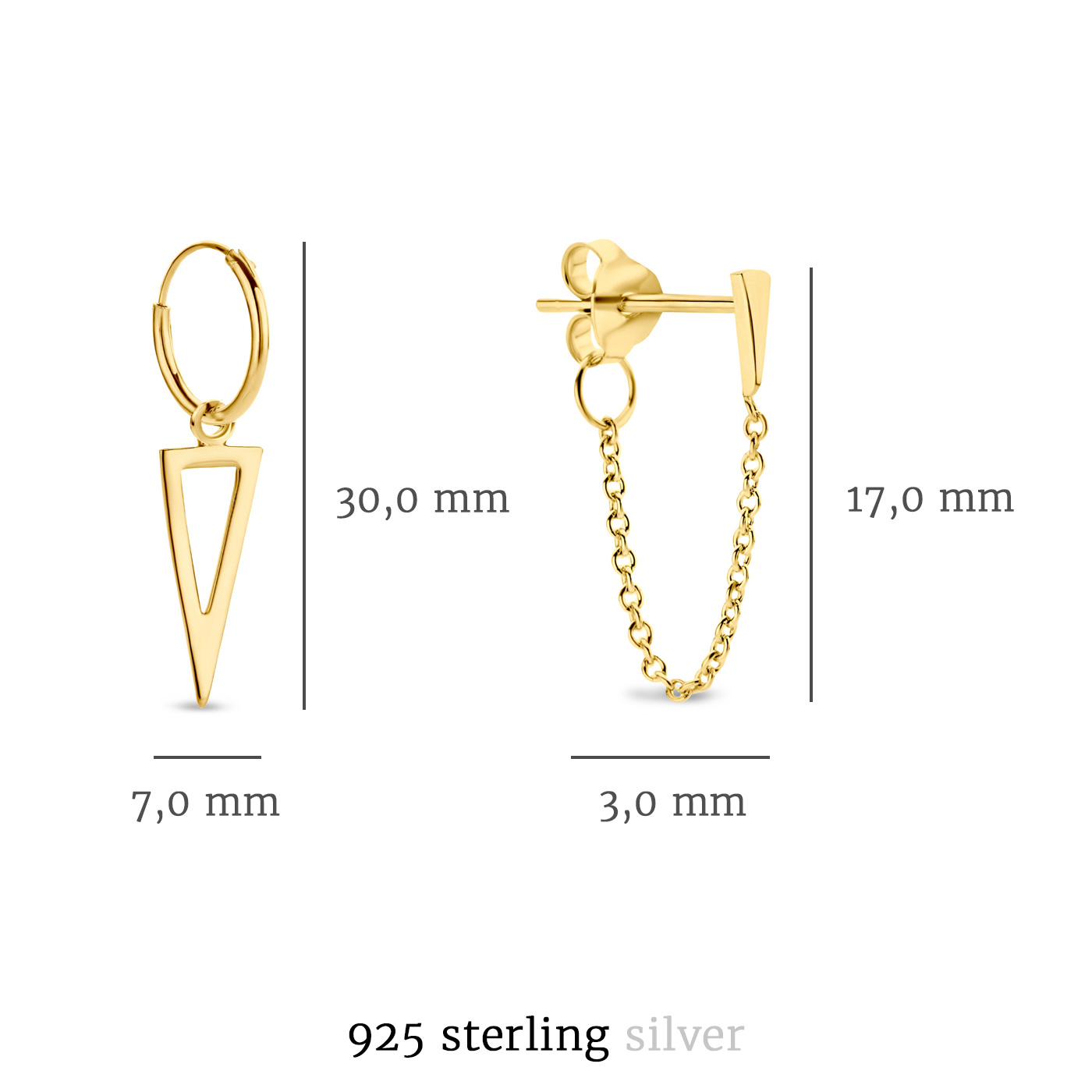 Selected Jewels Selected Gifts 925 sterling silver gold colored set of 2 pairs of earrings with triangles