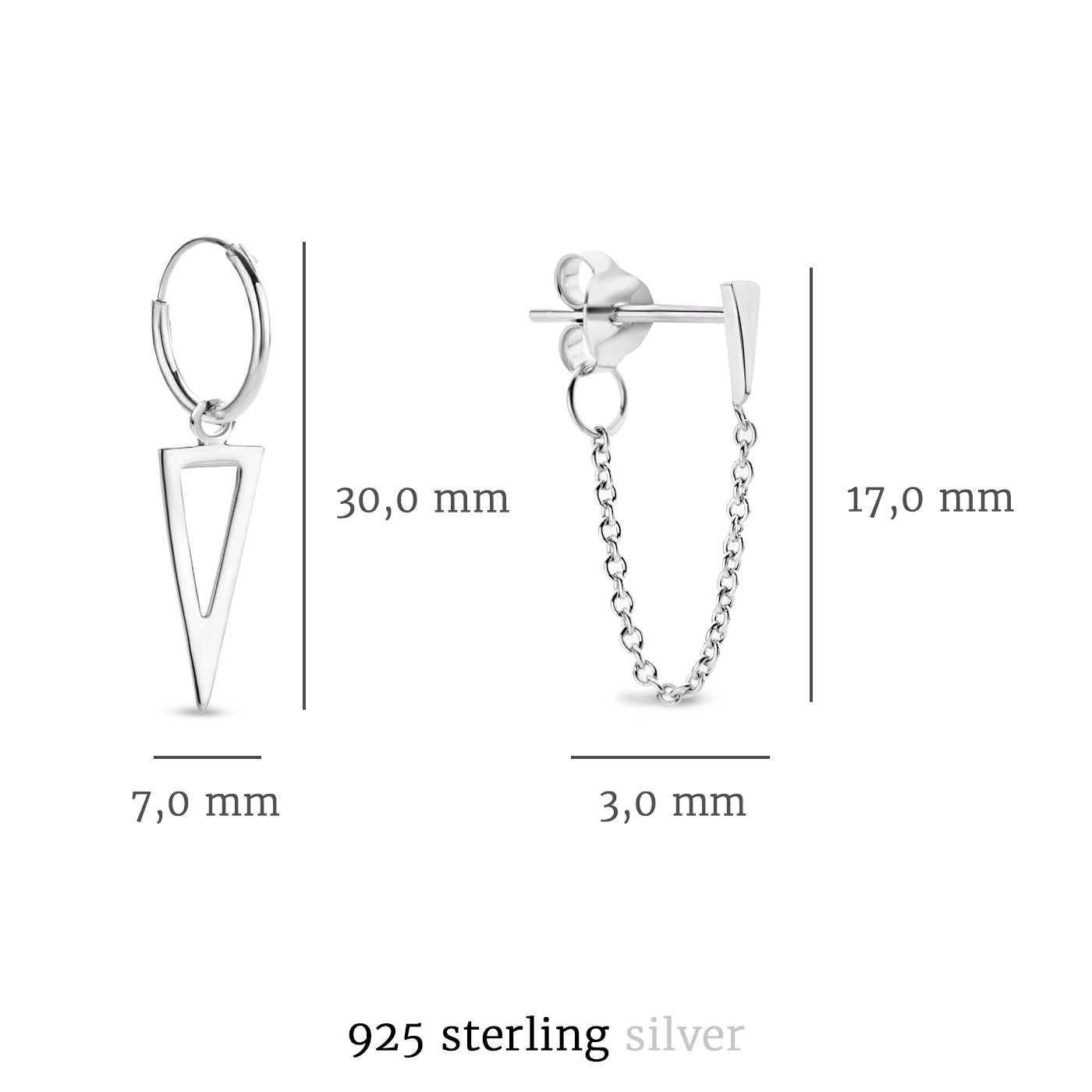 Selected Jewels Selected Gifts 925 sterling silver set of 2 pairs of earrings with triangles