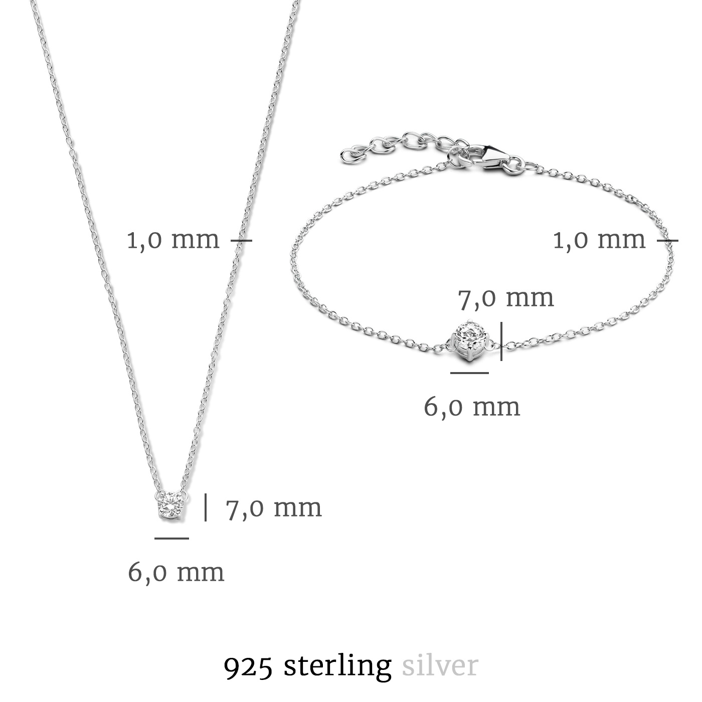 Selected Jewels Selected Gifts 925 sterling silver set bracelet and necklace with zirconia