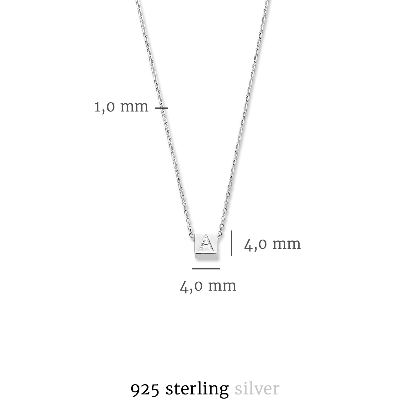 Selected Jewels Julie Chloé 925 sterling silver cube initial necklace with letter