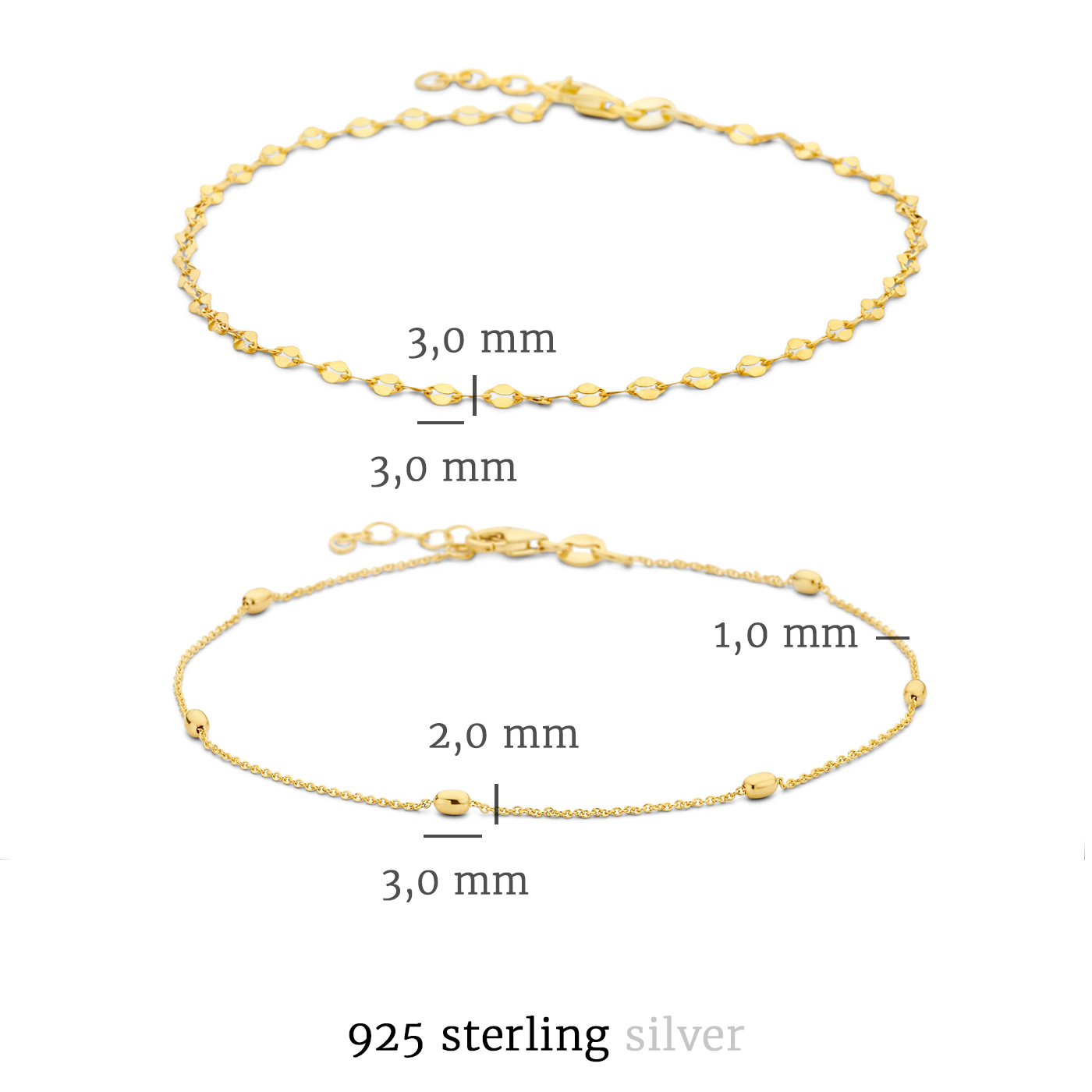 Selected Jewels Selected Gifts 925 Sterling Silber goldfarbenes Satz Fußkettchen