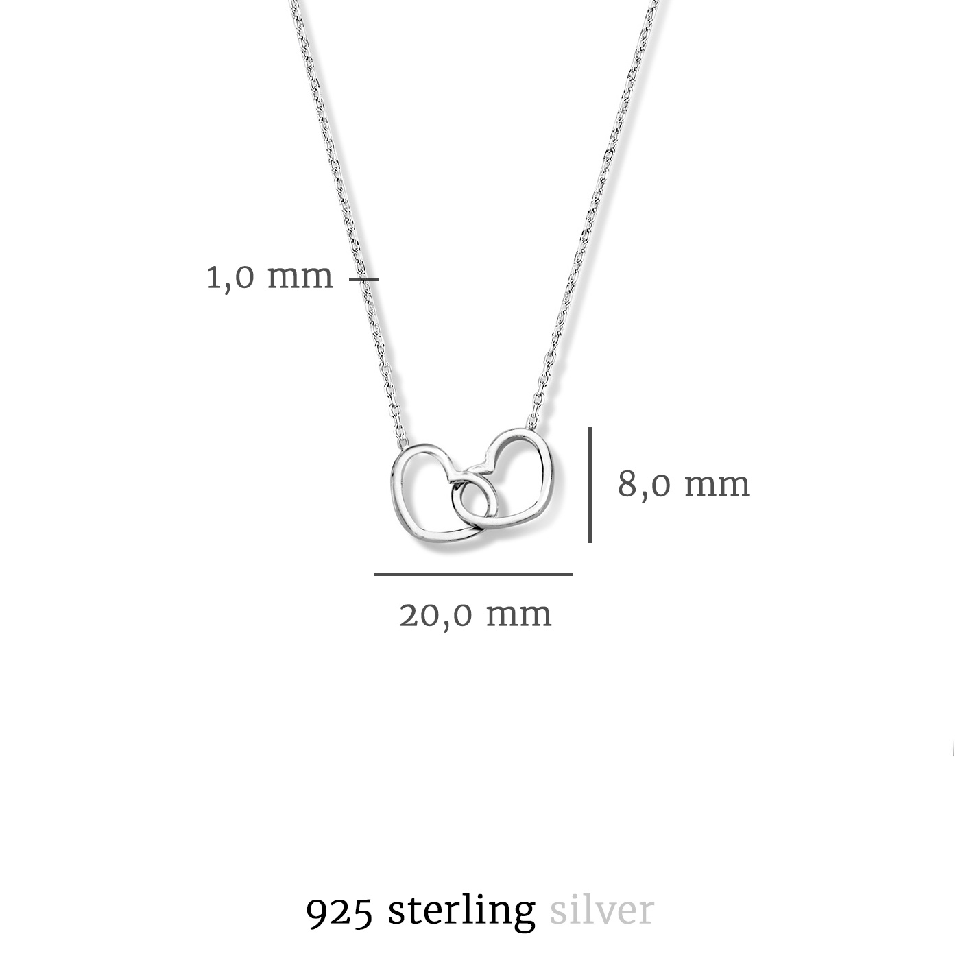 Selected Jewels Aimée 925 sterling silver necklace with 2 hearts