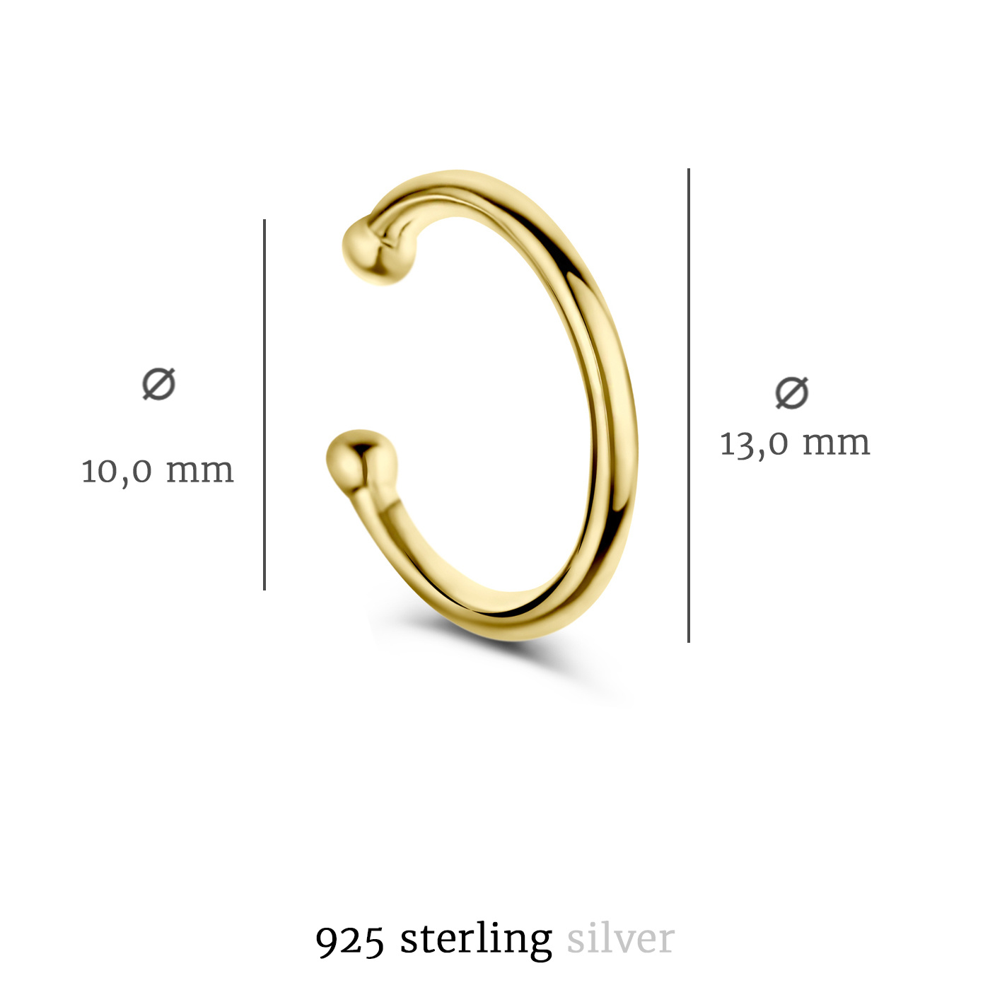 Selected Jewels Léna Joy 925 sterling silver gold colored single ear cuff