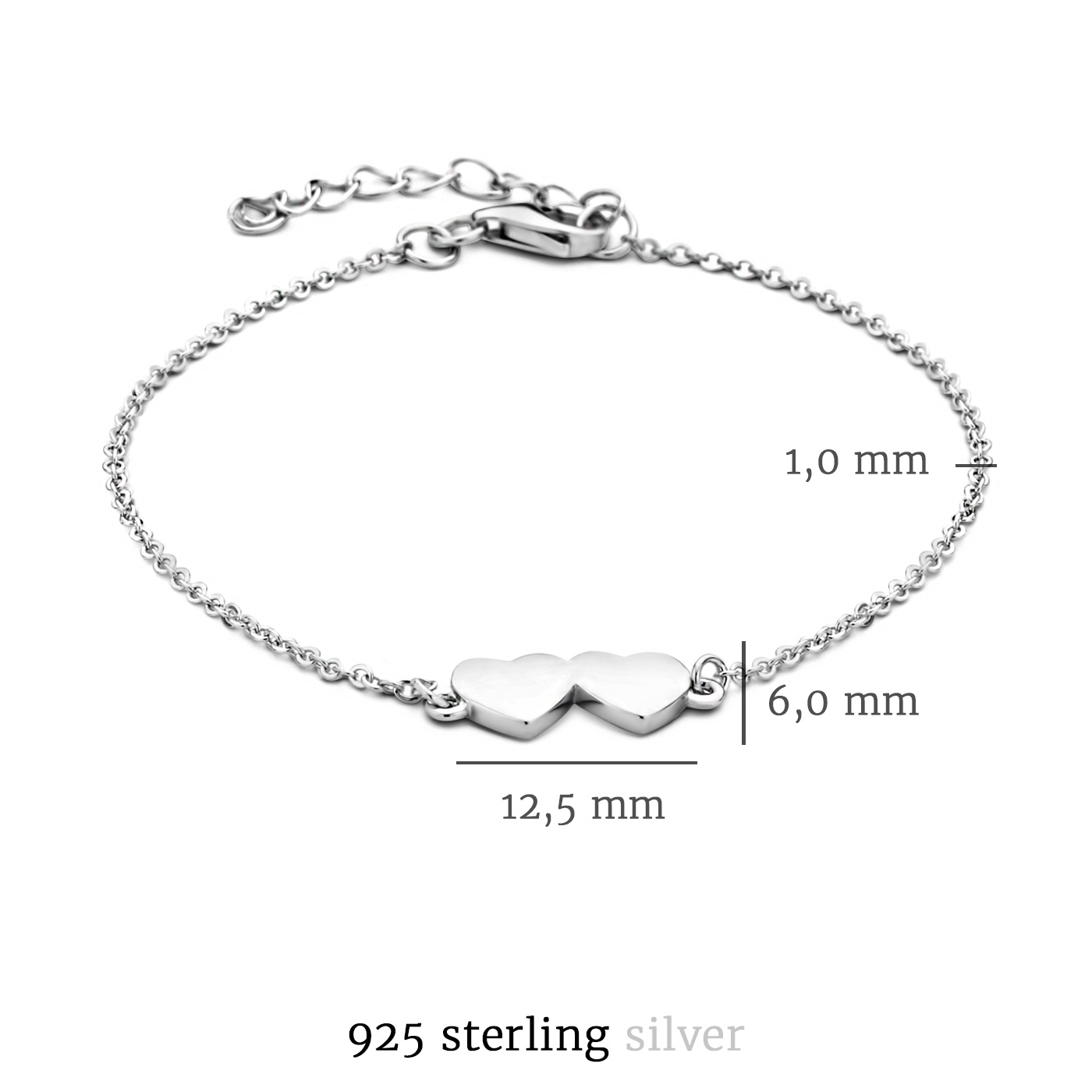 Selected Jewels Aimée 925 sterling zilveren armband met 2 hartjes